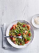 Broccoli Pesto Linguini with Prawns and Cherry Tomatoes