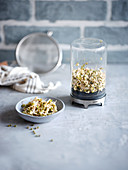 Mung bean sprouts in a sprouting glass