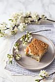Slice of Spring rhubarb cake
