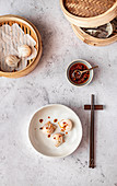 Steamed Dim Sum Dumplings with Homemade Chili Oil