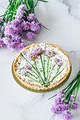 Chives flowers cottage cheese pie