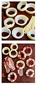 Preparing Cheesy Bacon Onion Rings