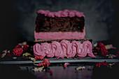 Chocolate cake with blackberry cream cheese cream