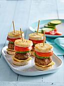Small hamburgers on skewer