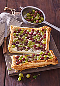 Puff pastry cake with gooseberries