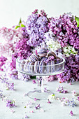 Lilacs and macarons with blueberry filling