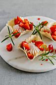 Sweet dessert strawberry and cream tacos shells