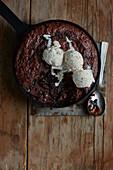 Chocolate magic pudding with ice cream