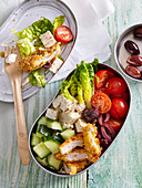 Snack salad with chicken and fetta cheese