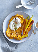 Spread made from baked carrot and yoghurt
