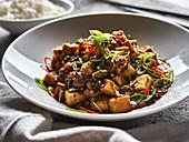 Chinese mapo tofu with rice