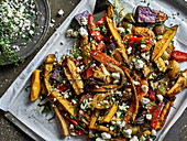 Oven-roasted vegetables with feta cheese