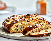 Easter bread with raisins and granulated sugar