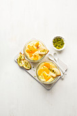 Mandarin cream with quark and pistachios