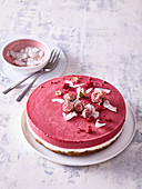 unbaked cheesecake with beetroot