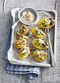 Potato boats with mackerel and horseradish cream