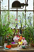 Arrangement aus Blüten von Gartenblumen und Wiesenblumensträußen