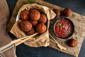 Keto fried cheese balls with homemade ketchup