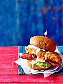 Buttermilk chicken burger with caesar salad