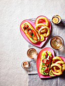 Lobster rolls with fried onion rings