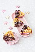 Waffle ice cream sandwich with chocolate icing