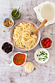 Pasta party with three kinds of sauces