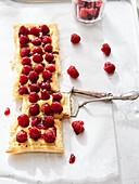Puff pastry raspberry tart