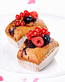 Small plumcakes with berries