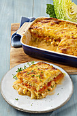 Savoy cabbage and potato lasagna with beans and tomato bechamel