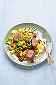Endive salad with venison, potatoes, chanterelles and mustard vinaigrette