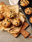 Vegan blueberry and applesauce muffins