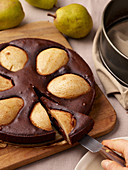 Vegan pear and chocolate cake