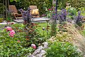 Sommerlich blühende Beete in Schrebergarten, Liegestühle auf Holzdeck, zusammengebundene Lavendelbüsche neben Rosen