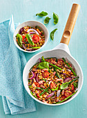 Lentils with vegetables and streaky bacon