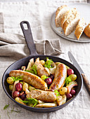 Italian sausages with grapes
