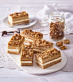 Honey cake slices with nuts