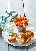 Carrot fries with crusty chicken