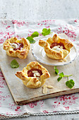 Choux pastry with rhubarb and banana filling