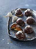 Chocolate balls with dried apricots