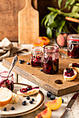 Peach and blueberry jam