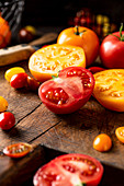 Sliced yellow and red tomatoes