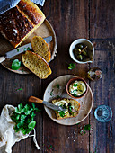 Carrot and yoghurt bread with herb butter and caper apples