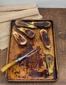 Roasted eggplant on baking tray