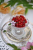 Red currants in a crystal bowl