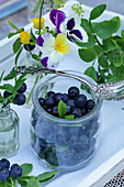 Forest blueberries in a glass