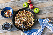 Braised apples with granola
