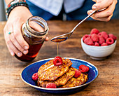 African style sweet potato pancakes with maple syrup