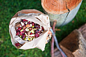 Trail mix with cranberries and chocolate covered almonds