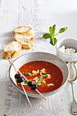 Tomato soup with sheep milk cheese