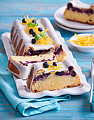 Sweet lemon loaf with blueberries